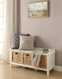 Rectangular Wooden Bench with Storage Basket, White