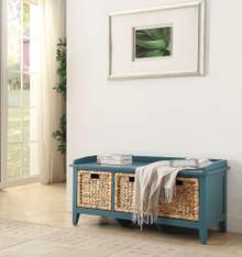 Rectangular Wooden Bench with Storage Basket, Blue