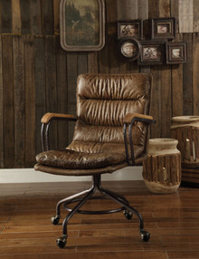 Metal & Leather Executive Office Chair, Vintage Whiskey Brown