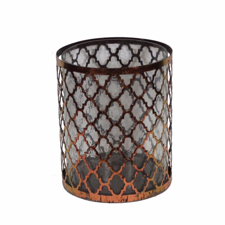 Distressed Metal/Glass Candle Holder, Copper