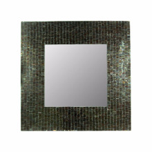 Mosaic Square Mirror, Gray