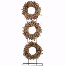 Wood/Metal Tea Root Circle decoration, Brown