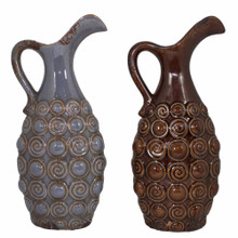 Ceramic Vase, Gray And Brown, Assortment Of 2