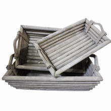 Rustically Charmed Wooden Trays, Set Of 3, Gray