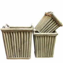 Wooden Planters,Brown,Set Of 3