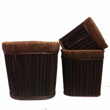 Oval Willow Planter, Dark Brown, Set Of 3