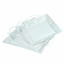 Metal Tray With Handle, Set Of 3, White