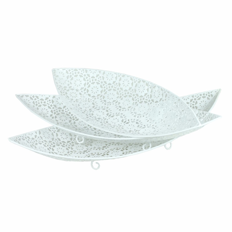 3 Piece Metal Tray, White