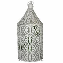 Metal Bird Caged Lantern,White/Blue