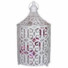 Metal Bird Caged Lantern,White/Pink