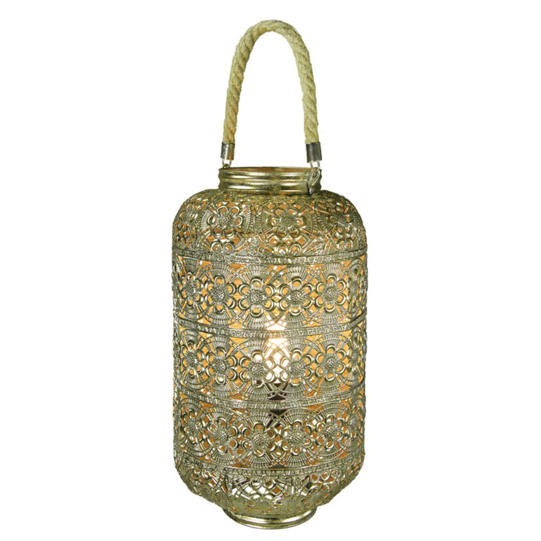 Metal Lantern With Rope Handle, Gold