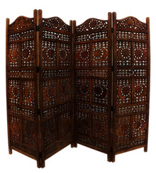 Hand Carved Sun And Moon Design Foldable 4-Panel Wooden Room Divider, Brown