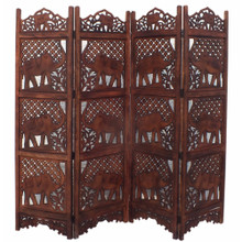 Hand Carved Elephant Design Foldable 4-Panel Wooden Room Divider, Brown