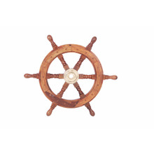 Nautical Sheesham Wood and Brass Decorative Ship Wheel, Brown