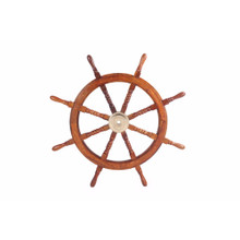 Nautical Sheesham Wood Decorative Ship Wheel With Brass Center, Brown