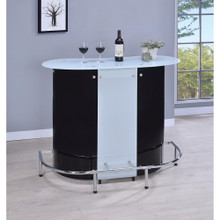 Contemporary Bar Unit with Frosted Glass Top, White And Black