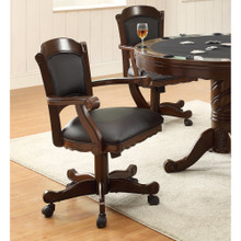 Arm Game Chair with Casters and Fabric Seat and Back, Brown