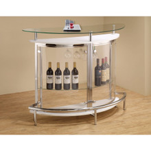 Contemporary Bar Unit with Clear Acrylic Front , White
