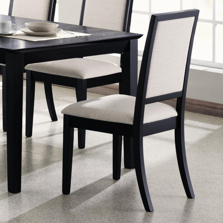 Wooden Dining Side Chair With Cream Upholstered Seat And ...