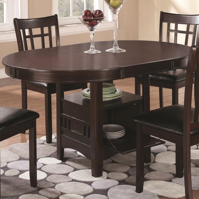 Wooden Dining Table With Storage Compartment, Espresso Brown