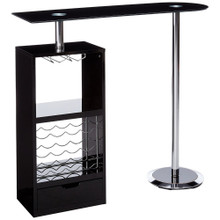 Metal Based Modern Bar Table with 12 bottles rack, Black and Chrome