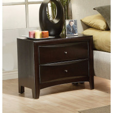 Spacious 2 Drawer Nightstand, Brown