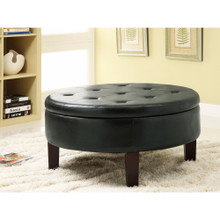 Traditional Round Tufted Storage Ottoman, Dark Brown