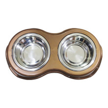 Pet Diner with 2 Bowls Stainless Steel Snap In Medium By Boomer N Chaser