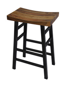 The Urban Port Wooden Saddle Seat 30 Inch Barstool With Ladder Base, Brown and Black
