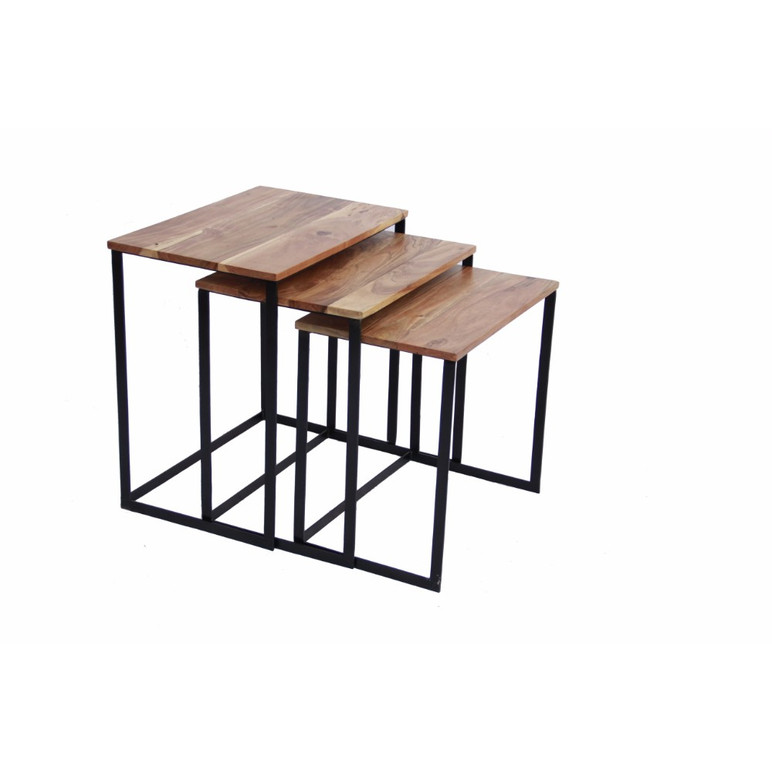 Industrial Style Wooden Nesting Coffee End Tables With