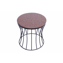 The Urban Port Drum Shaped Round Marble Top Side/ End Table, Brown
