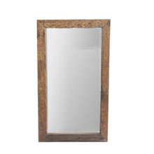 The Urban Port Natural Wood Framed Rectangular Wall Mirror, Brown