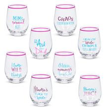 Witty Mom Stemless Wine Glass - 8 Pieces