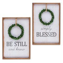 Set of 2 Wreath Message Wooden Wall Decor