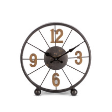 """Black Metal Clock with Antique Gold Numbers 4""""H"""