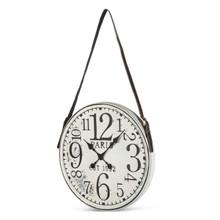 "Antique White Metal Wall Clock 18.7""D"