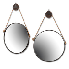 Metal Framed Round Mirror with Rope Pulley