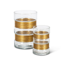 Set of 2 Glass Vases with Brushed Gold Metal Accent