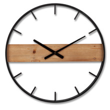 Metal And Wooden Wall Clock - 2 Pieces