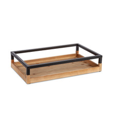 """Wood And Metal Tray 18.90""""L - 4 Pieces"""