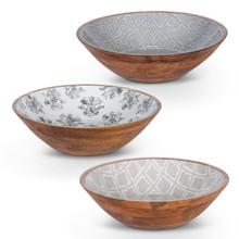 Set of 3 Enamel Coated Mango Wood Serving Bowl