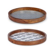Set of 2 Enamel Coated Mango Wood Serving Tray