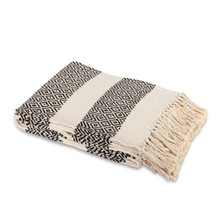 Ivory and Black Cotton Heirloom Jacquard Woven Throw