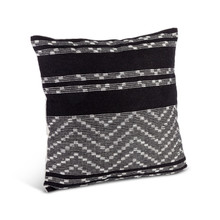 Black and Ivory Cotton Woven Square Pillow