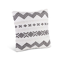 Ivory and Black Cotton Woven Square Pillow