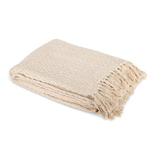 Ivory and White Cotton Heirloom Herringbone Woven Throw