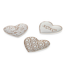 4 Sets of 3 Stoneware Heart Trinket Dish - 12 Pieces