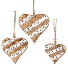 2 Sets of 3 Mango Wood Hearts with Glass Beads - 6 Pieces