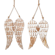 2 Sets of 2 Mango Wood Engraved Hanging Angel Wings - 4 Pieces
