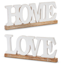 "Set of 2 White Mango Wood ""Love"" and ""Home"" Wall Art 16""L"